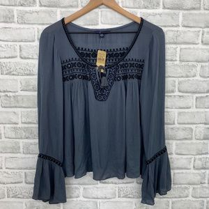 NWT American Eagle Gray Boho Style Peasant Top